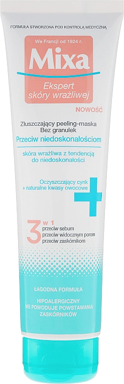 Peeling mascarilla facial seborreguladora con extracto de limón y zinc - Mixa Face Peeling Mask 3in1