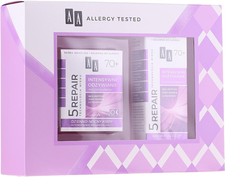 Set facial (crema/50ml + crema contorno de ojos/15ml) - AA Age Technology 5 Repair 70+