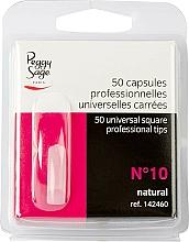 Perfumería y cosmética Tips de manicura cuadrados universales, №10, 50uds. - Peggy Sage Tips