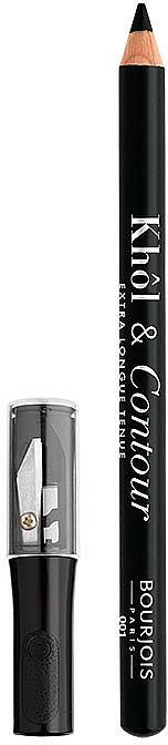 Delineador de ojos intenso con sacapuntas - Bourjois Khol & Contour Extra-Long Wear — imagen N1