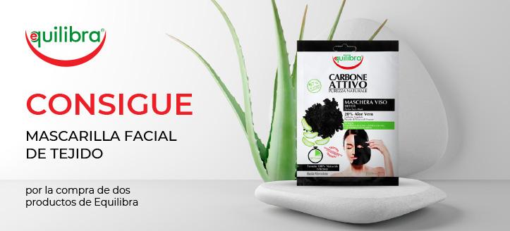 Por la compra de dos productos de la marca Equilibra, recibe de regalo mascarilla facial de tejido