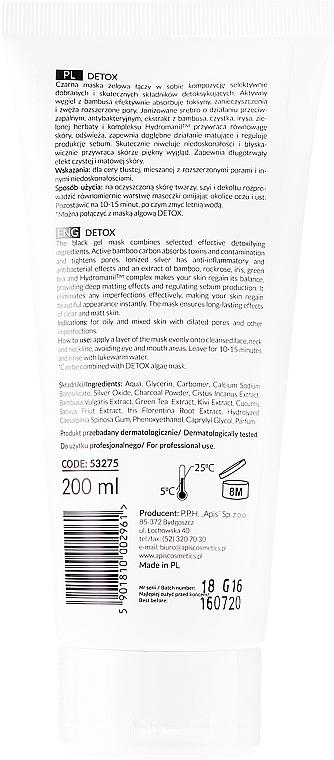 Mascarilla facial en gel con carbón de bambú, plata colo y plata coloidal - APIS Professional Detox Mask — imagen N2