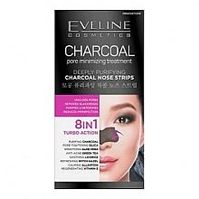 Perfumería y cosmética Tiras limpiadoras de poros con jugo de aloe y carbón - Eveline Cosmetics Charcoal Nose Strips