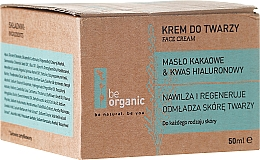 Perfumería y cosmética Crema facial hidratante y regenadora con manteca de cacao y ácido hialurónico - Be Organic Moisturising Face Cream
