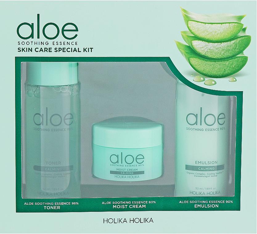 Set facial - Holika Holika Aloe (tónico/50ml + emulsión/50ml + crema/20ml)