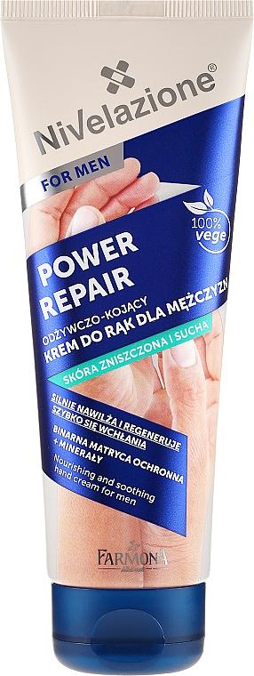 Crema de manos reparadora con prebióticos & minerales para pieles secas - Farmona Nivelazione Power Repair Nourishing And Soothing Hand Cream For Men