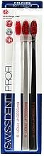 Perfumería y cosmética Cepillo dental de dureza suave-media, blanco + gris + negro - SWISSDENT Profi Colours Soft-Medium Trio-Pack
