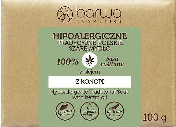 Jabón de glicerina hipoalergénico vegano con aceite de cáñamo - Barwa Hypoallergenic Traditional Soap With Hemp Oil