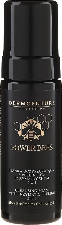Espuma facial limpiadora y peeling enzimático con oro coloidal 2 en 1 - Dermofuture Power Bees Cleansing Foam 2in1