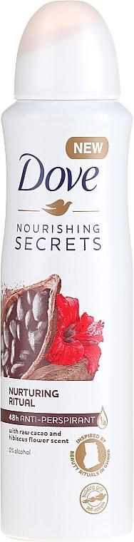 Spray antitranspirante con cacao crudo - Dove Nourishing Secrets Cacao & Hibiscus Dry Spray Antiperspirant