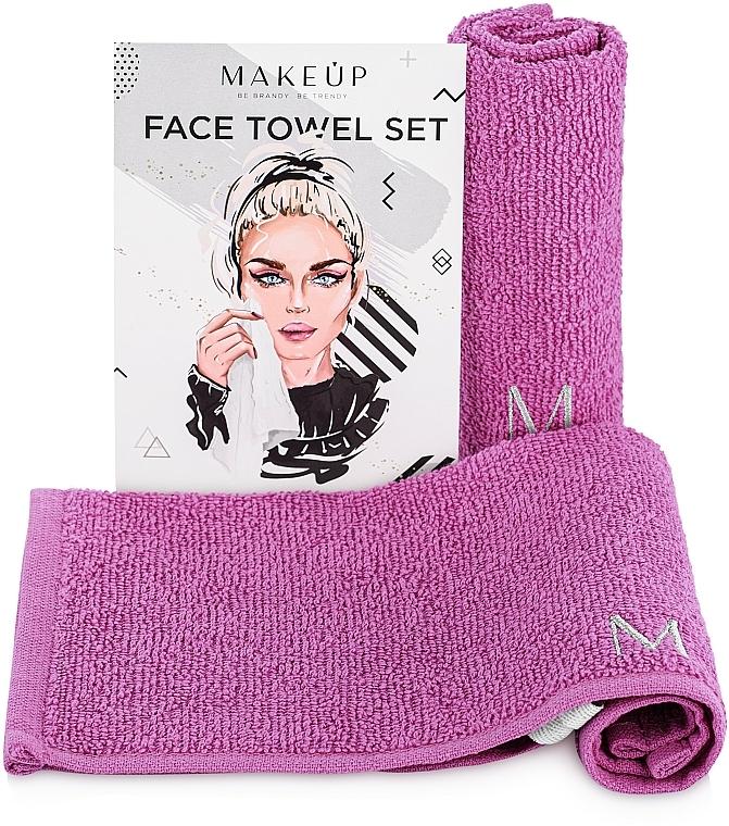 "Set toallas faciales de viaje, lilas ""MakeTravel"" - Makeup Face Towel Set"