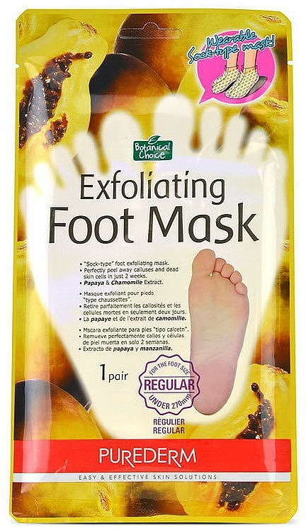 Mascarilla calcetín para pies con extracto de papaya y camomila - Purederm Exfoliating Foot Mask