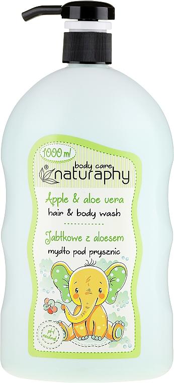 Champú y gel de ducha infantil con extracto de aloe vera, aroma a manzana - Bluxcosmetics Naturaphy Hair & Body Wash