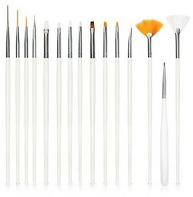 Set pinceles para decoración de uñas, color blanco, 15uds. - Deni Carte