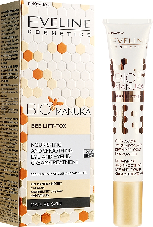 Crema nutritiva para contorno de ojos con Bio Miel de Manuka, aceite de aguacate y vitamina E - Eveline Cosmetics Bio Manuka Bee Lift-tox