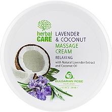 Perfumería y cosmética Crema de masaje natural con extracto de lavanda y aceite de coco - Bulgarian Rose Herbal Care Lavender & Cococnut Massage Cream