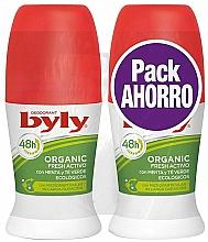 Perfumería y cosmética Byly Organic Extra Fresh - Set desodorante roll-on con menta y té verde (desodorante/2x50ml)