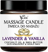 Perfumería y cosmética Vela de masaje con aroma a lavanda y vainilla - VCee Massage Candle Lavender & Vanilla Coconut Oil & Shea Butter