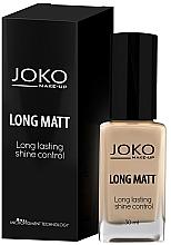 Perfumería y cosmética Base de maquillaje fluida de larga duración con efecto mate para pieles grasas y mixtas, SPF 10 - Joko Long Matt