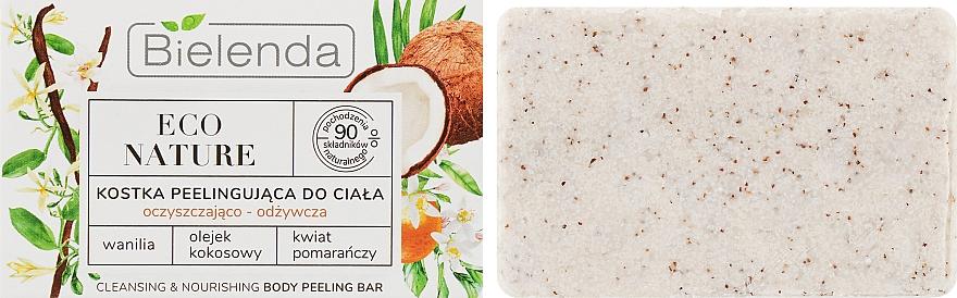 Jabón exfoliante corporal sólido con extracto de vanilla, aceite de coco y agua de naranja - Bielenda Eco Nature Body Peeling Bar Vanilla Coconut Milk Orange
