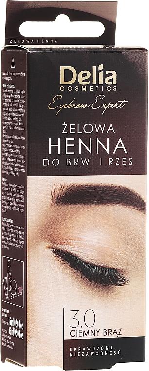 Tinte gel para cejas y pestañas, marrón oscuro - Delia Eyebrow Tint Gel ProColor 3.0 Dark Brown