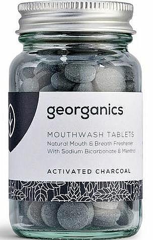 Enjuague bucal en tabletas vegano con carbón activado y aceite de menta, 180uds. - Georganics Mouthwash Tablets Activated Charcoal