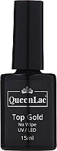Perfumería y cosmética Top coat no pegajoso, UV/LED - QueenLac Top Gold No Wipe UV/LED