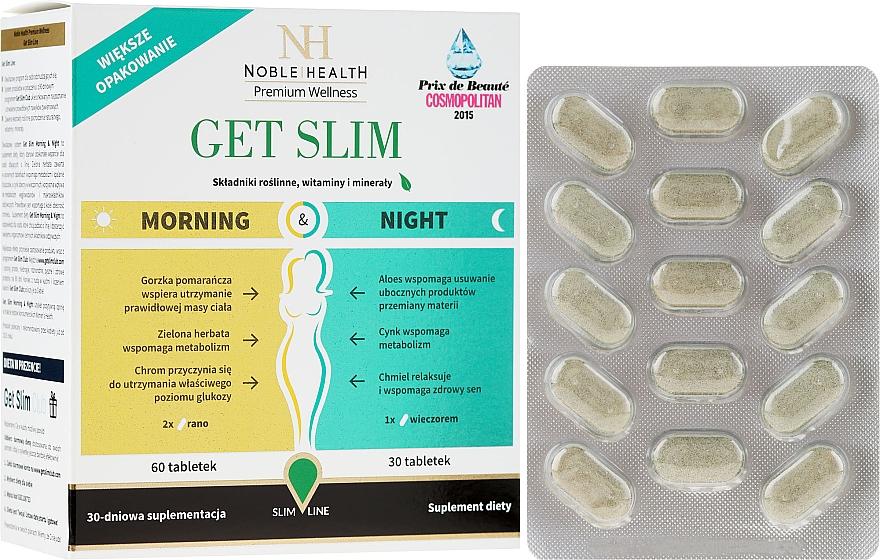 Complemento alimenticio en cápsulas para apoyo a la pérdida de peso día y noche, 90cáp. - Noble Health Get Slim Morning & Night