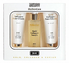 Perfumería y cosmética Set facial de colágeno y caviar - GlySkinCare Gold Collagen (cre.2x50ml + ser.50ml)