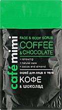 Perfumería y cosmética Exfoliante para rostro y cuerpo de azúcar de caña, cacao y café molido, aroma a chocolate - Cafe Mimi Scrub