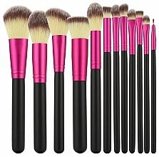 Perfumería y cosmética Set profesional de bochas y pinceles de maquillaje, 12uds., rosa con negro - Tools For Beauty