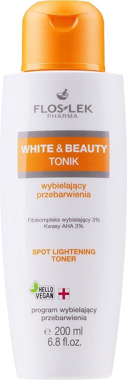 Tónico facial antimanchas con fitocomplejo blanqueador,ácidos AHA y pantenol - Floslek White & Beauty AHA Spot Lightening Toner