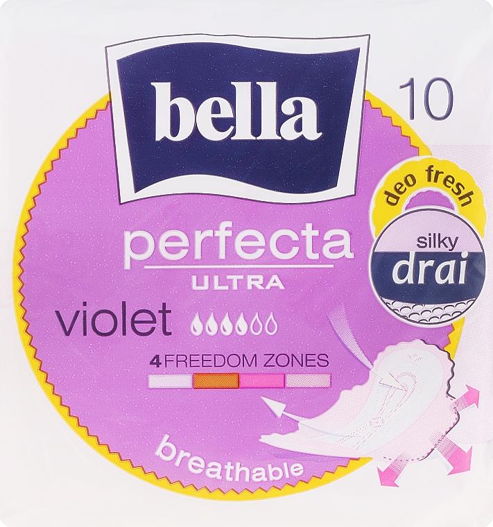 Compresas con alas transpirables suaves 4 gotas Perfecta Violet Deo Fresh Soft Ultra, 10uds. - Bella