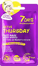 Perfumería y cosmética Mascarilla facial con extracto de peonía y arándano - 7 Days Active Thursday