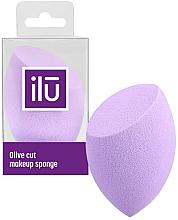 Perfumería y cosmética Esponja de maquillaje, biselada, lila - Ilu Sponge Olive Cut Purple