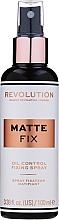 Perfumería y cosmética Spray fijador de maquillaje vegano matificante de larga duración - Makeup Revolution Matte Fix Oil Control Fixing Spray