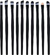 Perfumería y cosmética Set pinceles de maquillaje profesionales, 10uds., negro - Lewer