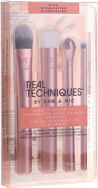 Real Techniques by Sam and Nic Prep + Prime Set - Set prebase y base de maquillaje (brochas/3uds. + rodillo para contorno de ojos/1ud.)