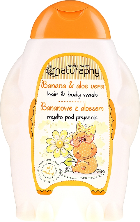 Champú y gel de ducha infantil con extracto de aloe vera, aroma a plátano - Bluxcosmetics Naturaphy Hair & Body Wash