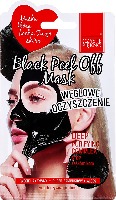 Mascarilla facial peel-off con carbón activado y aloe vera - Czyste Piekno Black Peel Off Mask