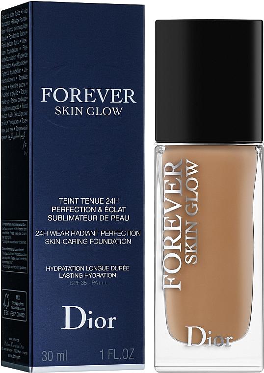 Dior Diorskin Forever Skin Glow Foundation - Base de maquillaje fluida de larga duración con extracto de fruto de rosa