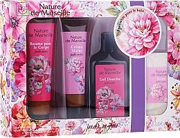 Perfumería y cosmética Set de baño Jardín inglés (bálsamo/100ml + crema de manos/60ml + gel de ducha/150ml + jabón/95g) - Nature de Marseille