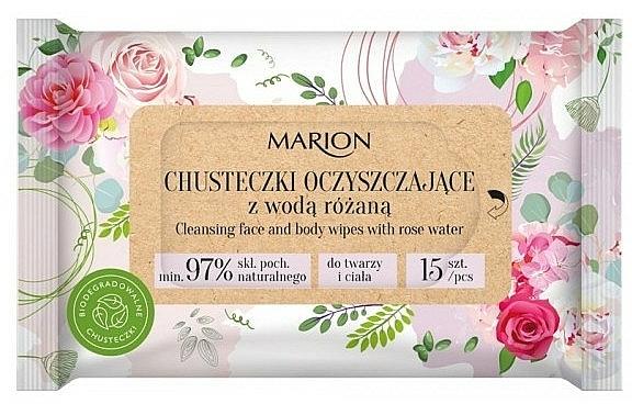 Toallitas húmedas para rostro y cuerpo con agua de rosas, 15uds. - Marion