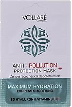 Perfumería y cosmética Mascarilla para rostro, cuello y escote con ácido hialurónico, vitamina C y E - Vollare Anti-Pollution Protection Mask