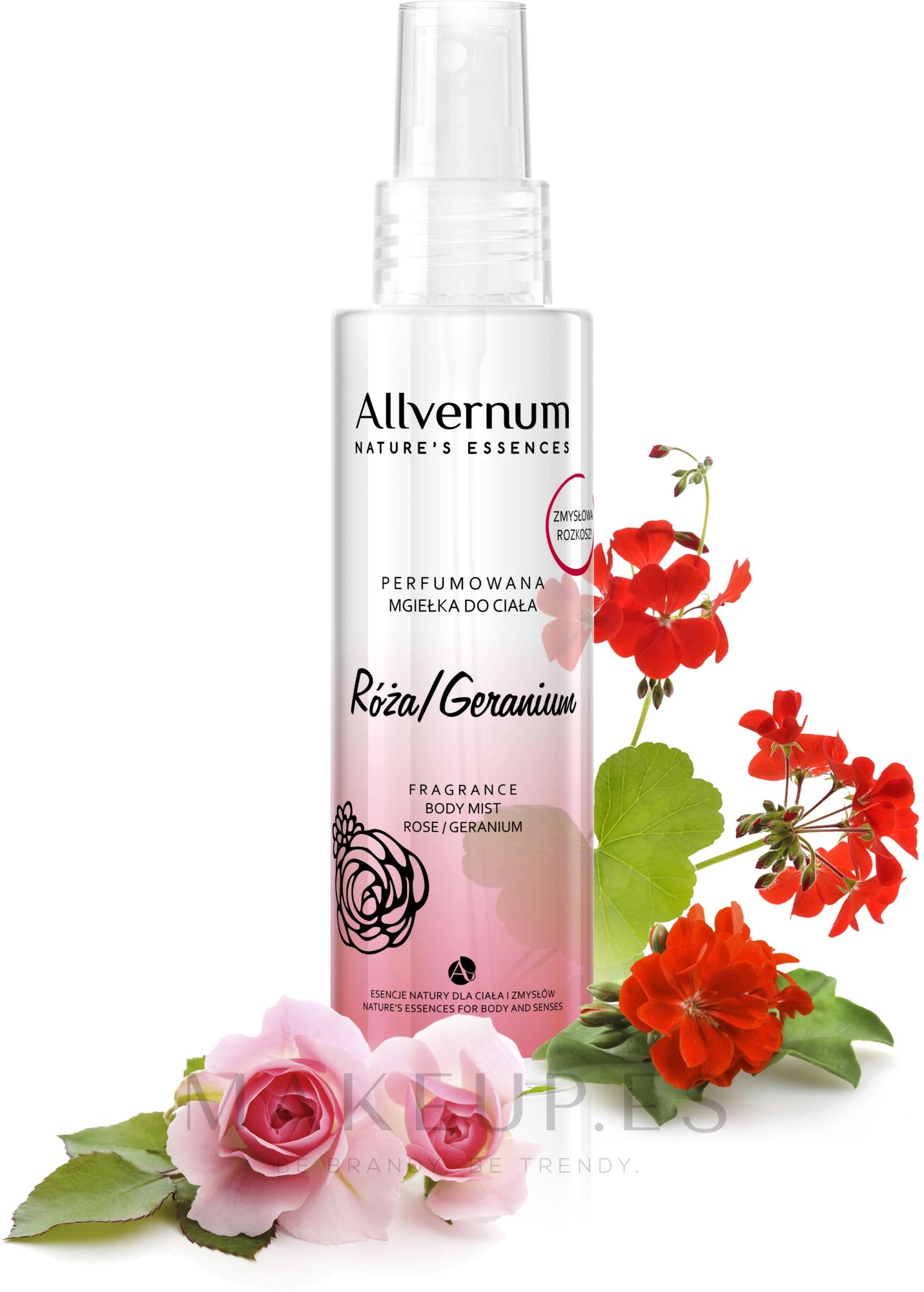 Bruma corporal perfumada con aroma a rosa & geranio - Allverne Nature's Essences Body Mist — imagen 125 ml