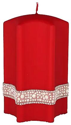 Vela decorativa, estrella, roja, 9x14cm - Artman Crystal Opal Pearl