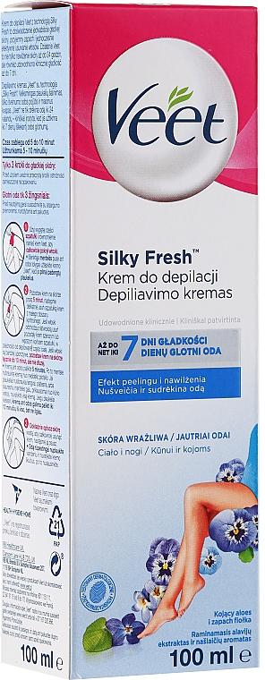 Crema depilatoria para pieles sensibles con extracto de aloe vera, piernas - Veet