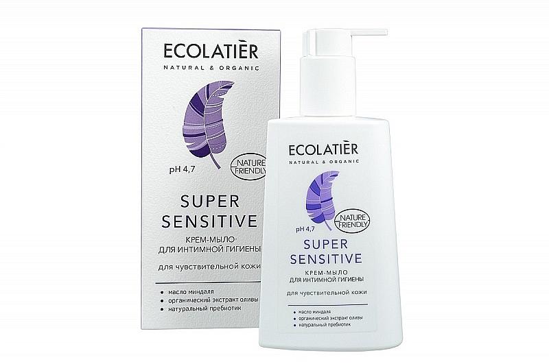 Crema-jabón de higiene íntima con probióticos naturales y aceite de almendras - Ecolatier Super Sensitive