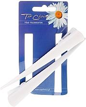 Perfumería y cosmética Clips de pelo blancos L, 2uds. - Top Choice