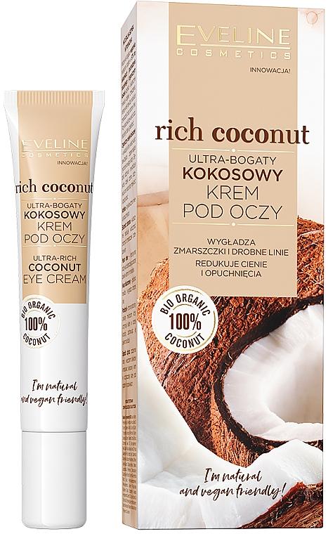 Crema antiojeras para contorno de ojos con aceite de coco - Eveline Cosmetics Rich Coconut Eye Cream
